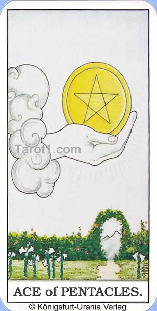 Meaning of Ace of Pentacles from Rider Waite Tarot