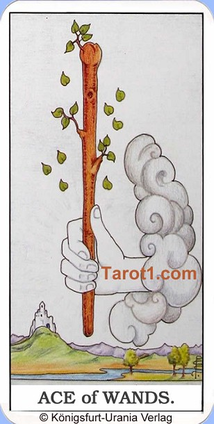 Daily Tarot card tomorrow Ace of Wands, Waite Tarot