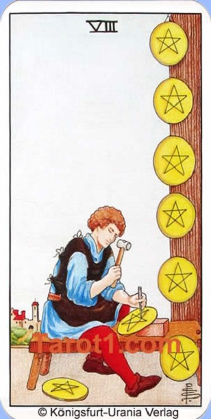 Daily Tarot card tomorrow Eight of Pentacles, Waite Tarot