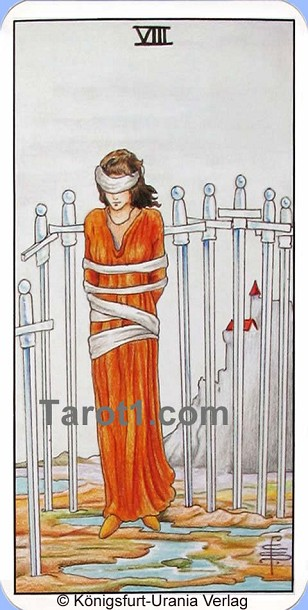 Meaning of Eight of Swords from Rider Waite Tarot