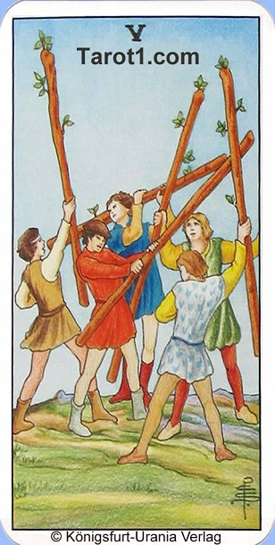 Meaning of Five of Wands from Rider Waite Tarot