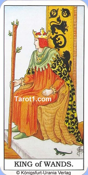 Daily Tarot card tomorrow King of Wands, Waite Tarot