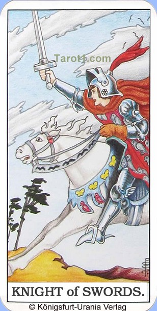 Daily Tarot card today Knight of Swords, Waite Tarot