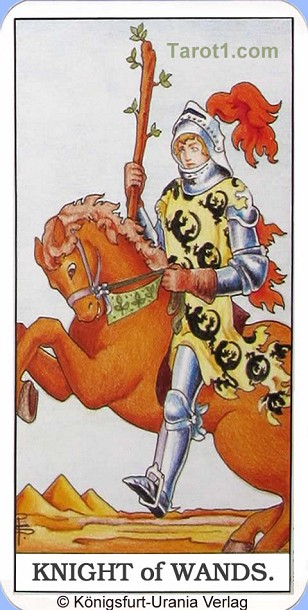 Daily Tarot card tomorrow Knight of Wands, Waite Tarot