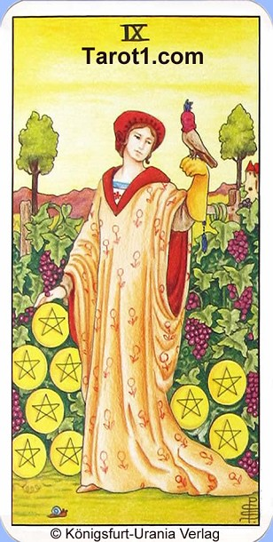Daily Tarot card tomorrow Nine of Pentacles, Waite Tarot
