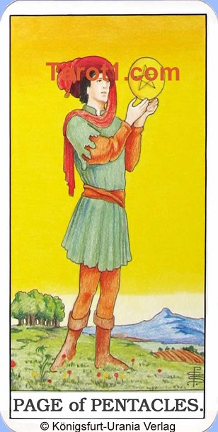 Daily Tarot card tomorrow Page of Pentacles, Waite Tarot