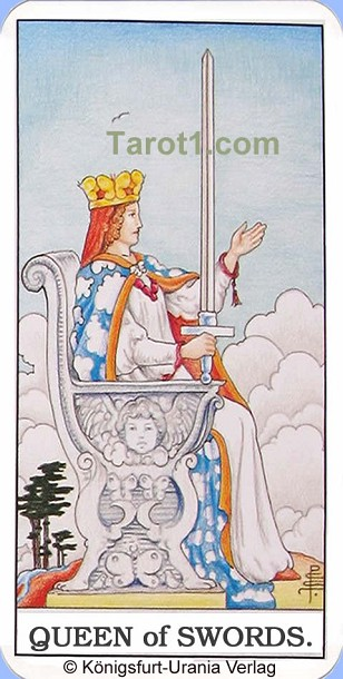 Daily Tarot card tomorrow Queen of Swords, Waite Tarot
