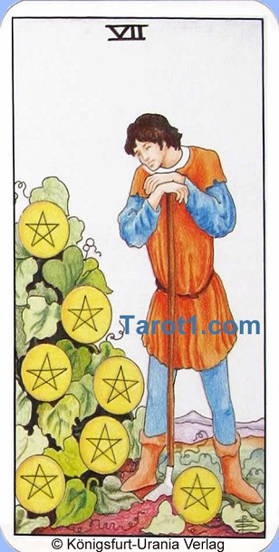 Daily Tarot card today Seven of Pentacles, Waite Tarot