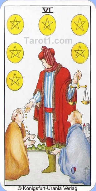 Meaning of Six of Pentacles from Rider Waite Tarot