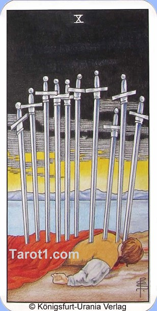 Daily Tarot card today Ten of Swords, Waite Tarot