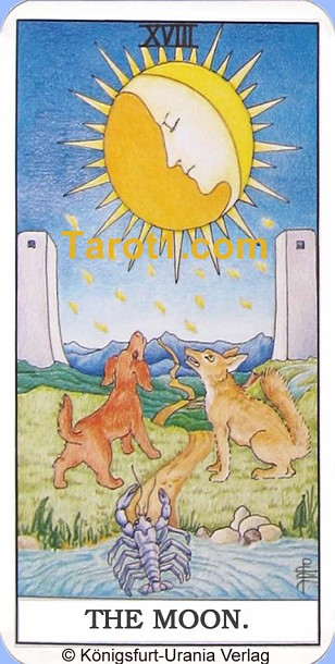 Daily Tarot card today the Moon, Waite Tarot