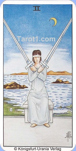 Daily Tarot card tomorrow Two of Swords, Waite Tarot