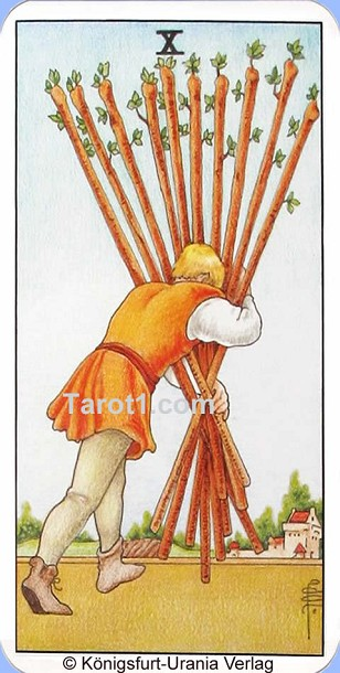 Meaning of Ten of Wands from Rider Waite Tarot