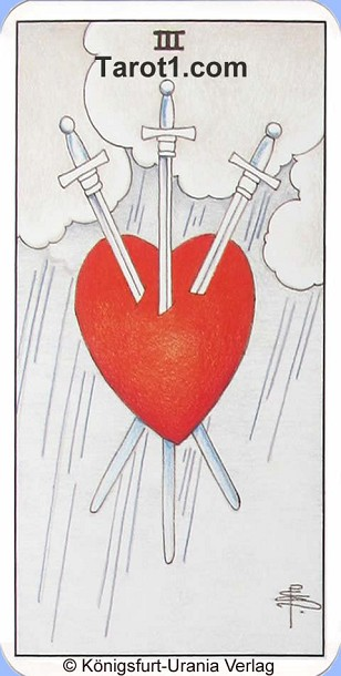 Meaning of Three of Swords from Rider Waite Tarot